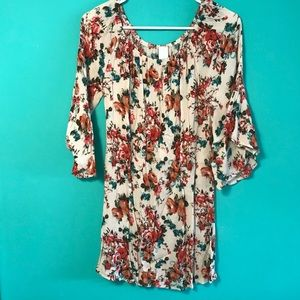 Elastic neck floral dress
